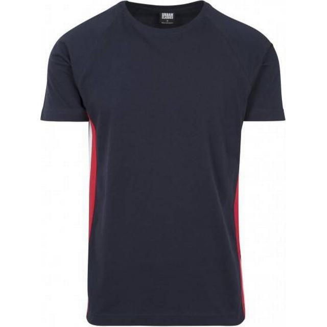 Urban Classics Raglan Side Stripe Tee - Navy/Fire Red/White