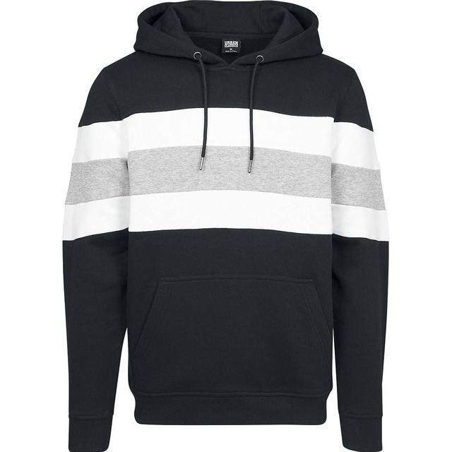 Urban Classics Chest Striped Hoody - Black/White/Grey