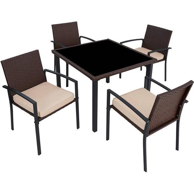 tectake Havemøbelsæt Meran 4+1 Havemøbelsæt, 1 borde inkl. 4 stole