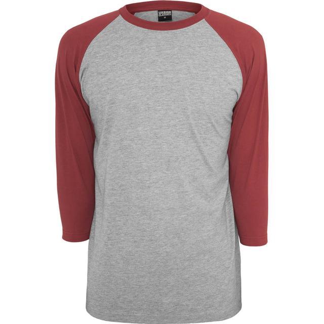 Urban Classics Contrast 3/4 Sleeve Raglan Tee - Grey/Ruby