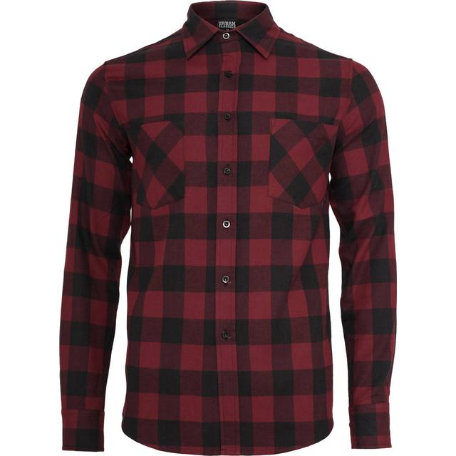 Urban Classics Checked Flanell Shirt - Black/Burgundy