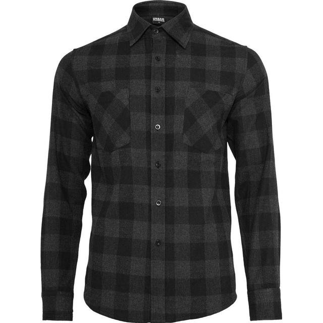 Urban Classics Checked Flannel Shirt - Black/Charcoal