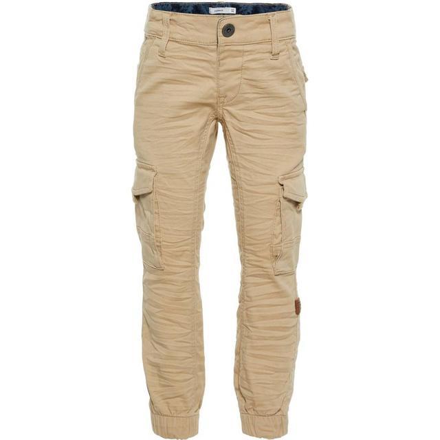 Name It Mini Regular Fit Cargo Trousers - Beige/White Pepper (13164899)