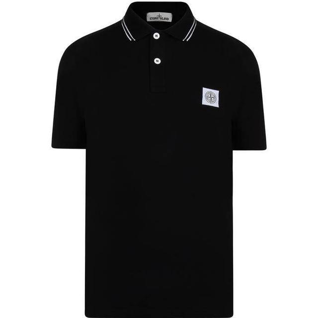 Stone Island Tipped Badge Logo Polo Shirt - Black V0029