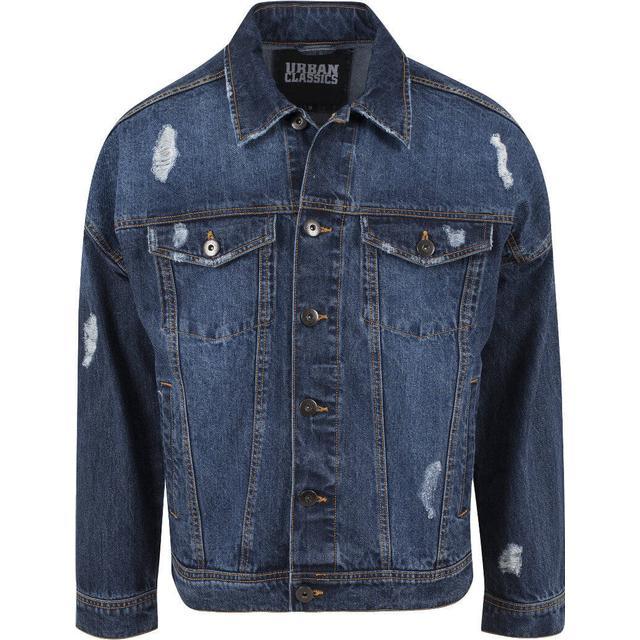 Urban Classics Ripped Denim Jacket - Blue Washed
