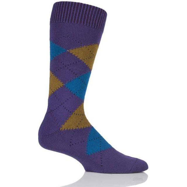 Pantherella Racton Argyle Socks - Deep Purple