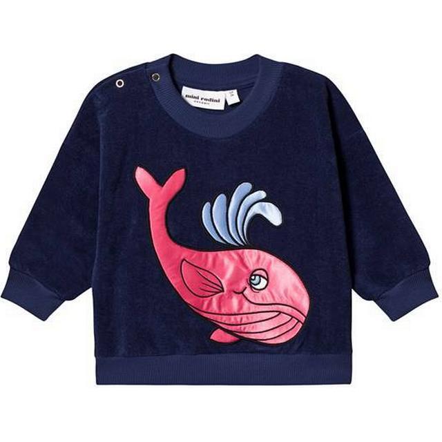Mini Rodini Whale Terry Sweatshirt - Dark Blue (1922014767)