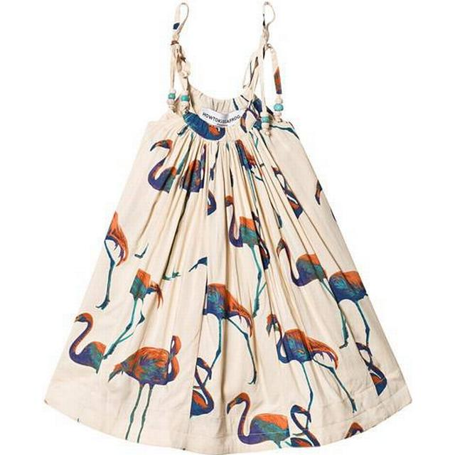 How To Kiss a Frog Coni Dress - Offwhite with Blue Flamingo Print