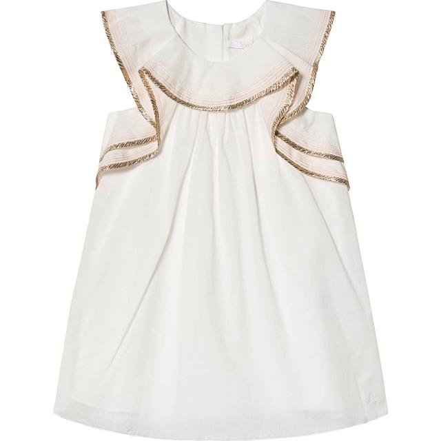 Chloé Braid Ruffle Detail Dress - White Gold (383650)
