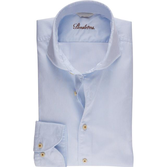 Stenströms Pinstriped Casual Slimline Shirt - Light Blue