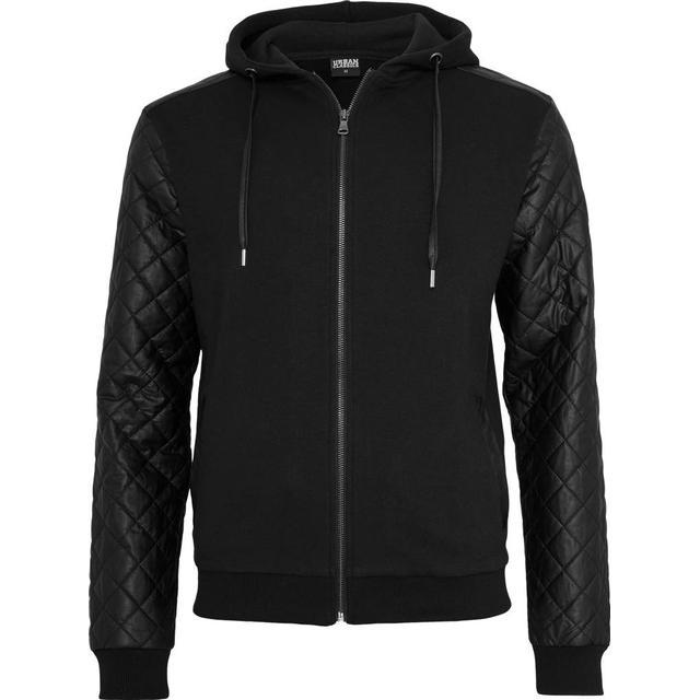 Urban Classics Diamond Leather Imitation Sleeve Zip Hoody - Black/Black
