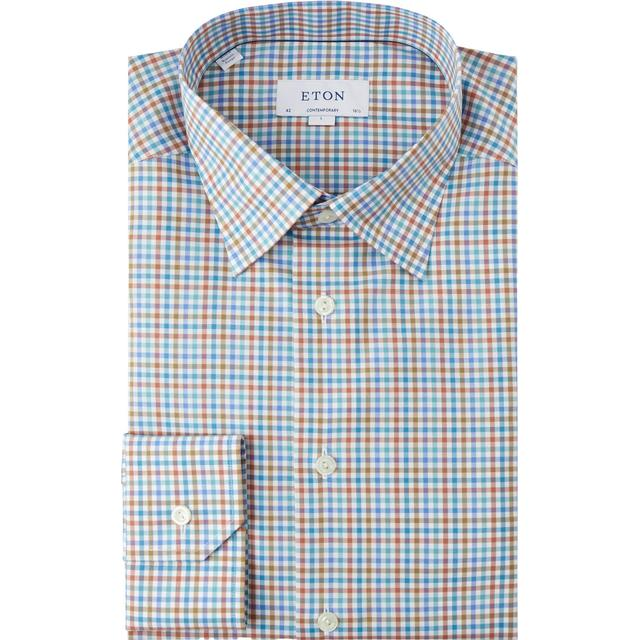 Eton Contemporary Fit Gingham Check Poplin Shirt - Green/Blue