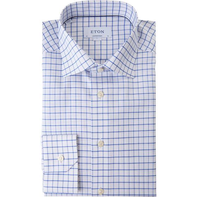 Eton Contemporary Fit Cotton Linen Shirt - Blue Checked
