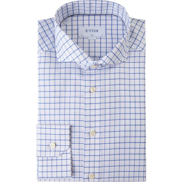 Eton Slim Fit Cotton Linen Shirt - Blue Checked