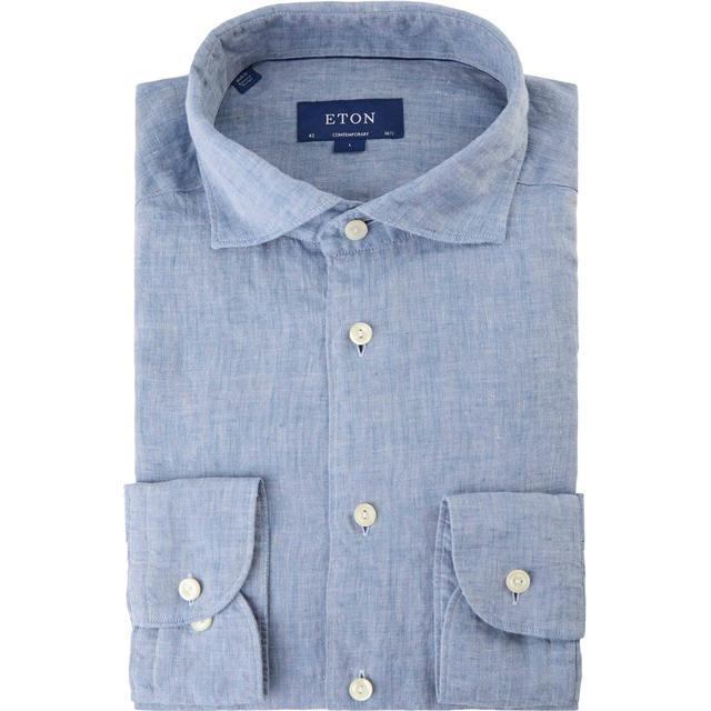 Eton Contemporary Fit Linen Shirt - Soft Sky Blue
