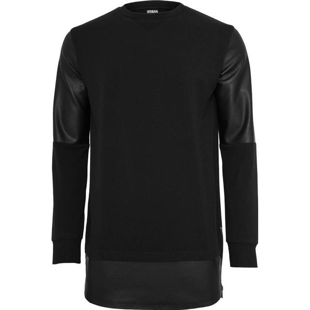 Urban Classics Long Zipped Leather Imitation Crewneck - Black/Black