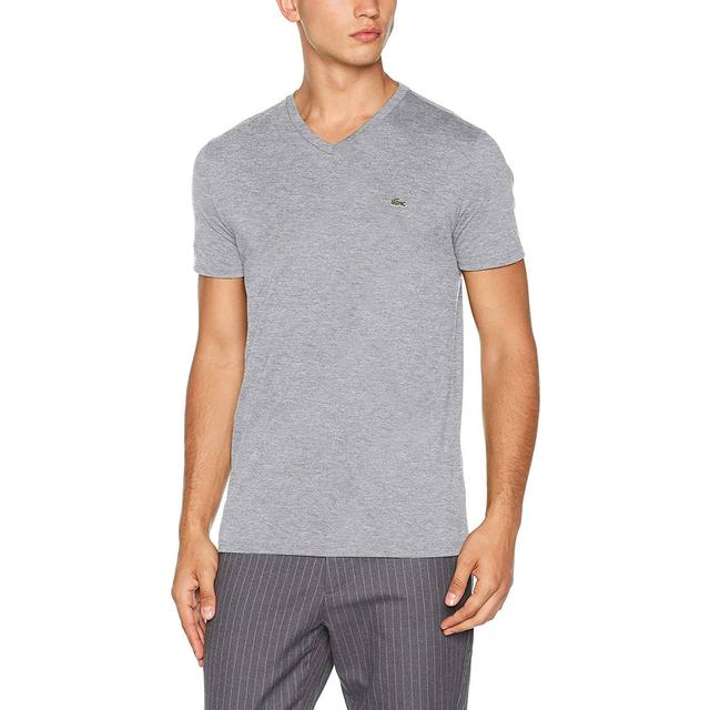 Lacoste V-neck Pima Cotton Jersey T-shirt - Grey Chine