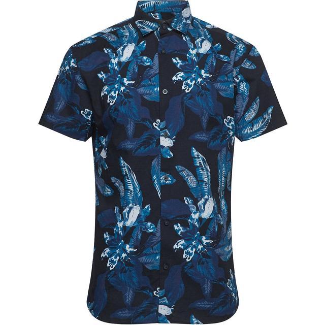 Selected Botanical Print Short Sleeved Shirt - Dark Sapphire