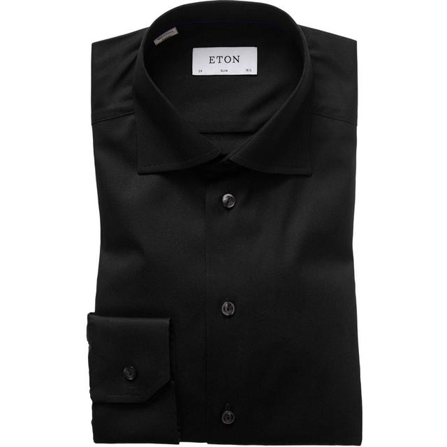 Eton Slim Fit Signature Twill Shirt - Black