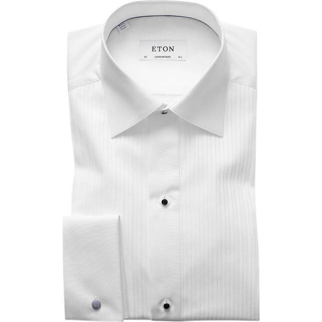 Eton Contemporary Fit Plissé Black Tie Shirt - White