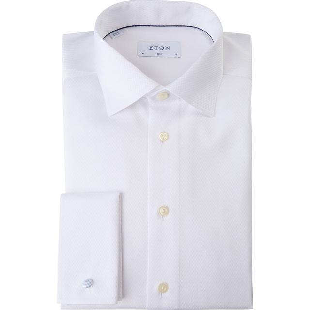 Eton Slim Fit Micro Weave French Cuff Shirt - White