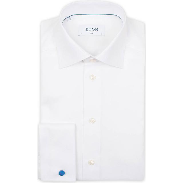 Eton Slim Fit Twill French Cuff Shirt - White