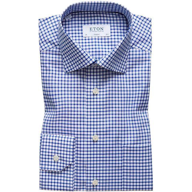 Eton Classic Fit Check Stretch Shirt - Blue/White