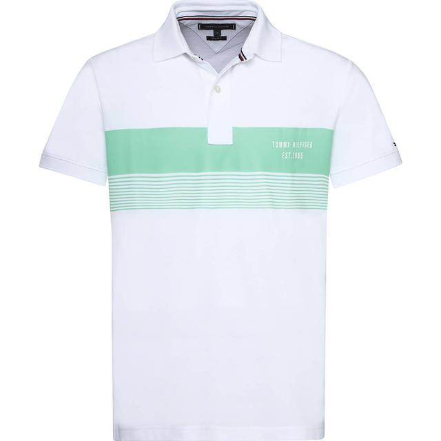 Tommy Hilfiger Stripe Cotton Polo Shirt - Bright White/Spring Bud