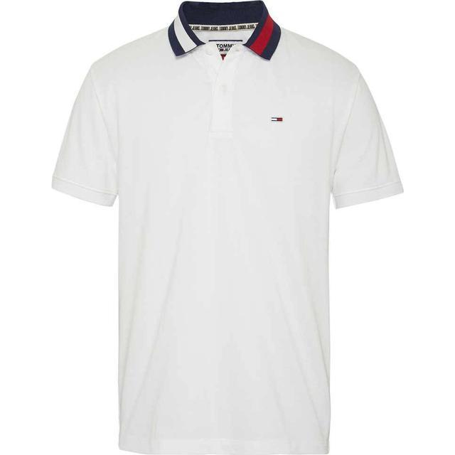Tommy Hilfiger Flag Neck Cotton Polo Shirt - Classic White