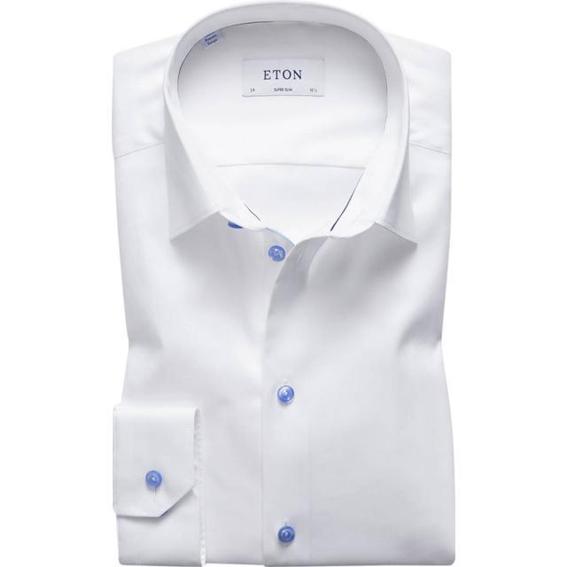Eton Super Slim Fit Blue Details Twill Shirt - White