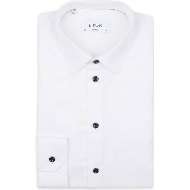 Eton Super Slim Fit Navy Details Twill Shirt - White