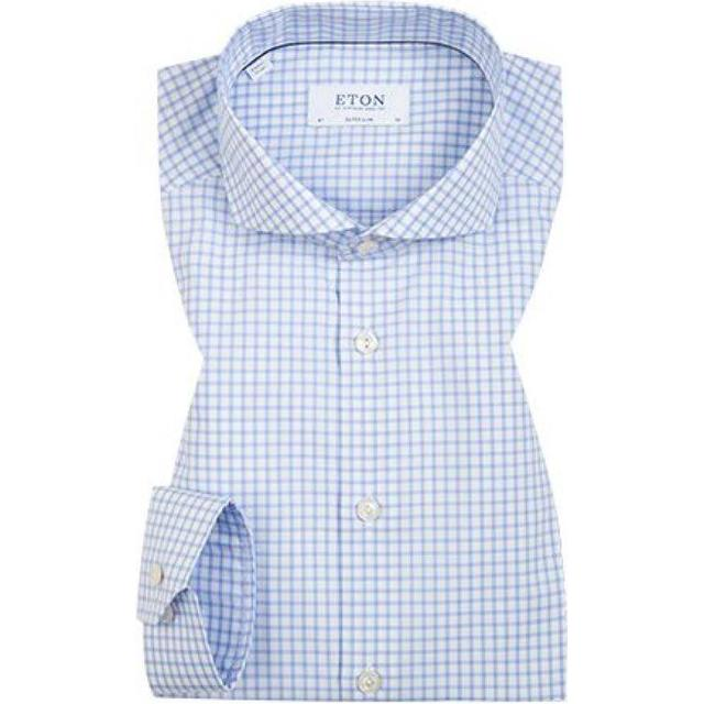 Eton Super Slim Fit Check Stretch Shirt - Sky Blue