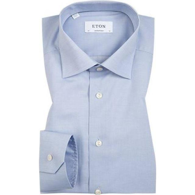 Eton Super Slim Fit Twill Stretch Shirt - Sky Blue