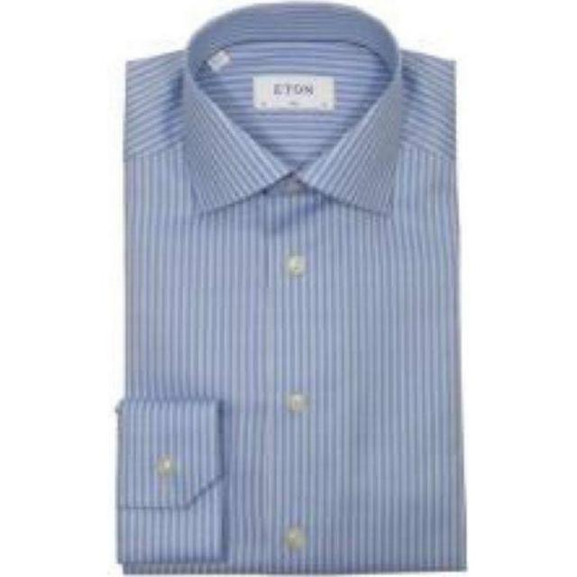 Eton Super Slim Fit Striped Stretch Shirt - Blue