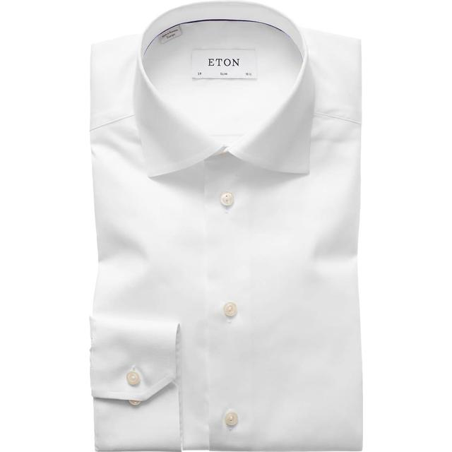 Eton Super Slim Fit Grey Details Twill Shirt - White