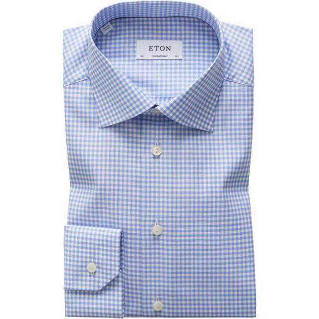 Eton Classic Fit Check Twill Shirt - Sky Blue
