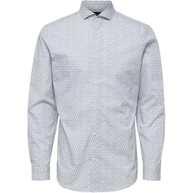Selected All Over Print Shirt - White/Bright White