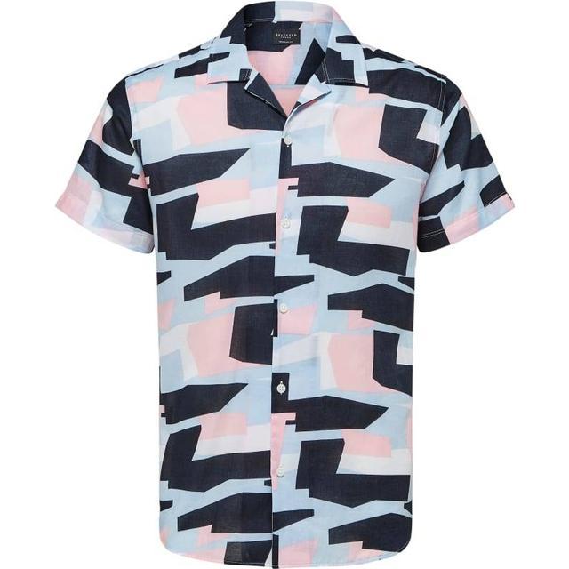 Selected Abstrakt All Over Print Short Sleeved Shirt - Blue/Bright White