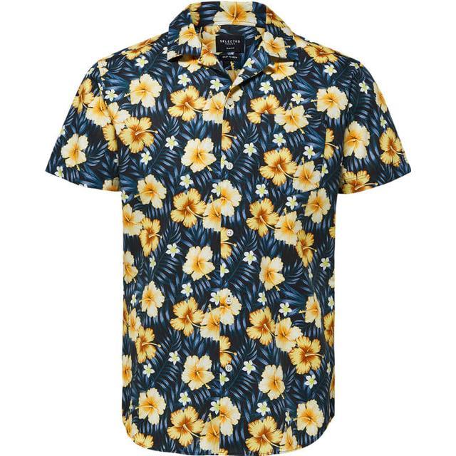 Selected Floral Print Short Sleeved Shirt - Blue/Dark Sapphire