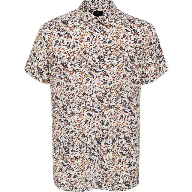 Selected Floral Print Short Sleeved Shirt - Orange/Bright White