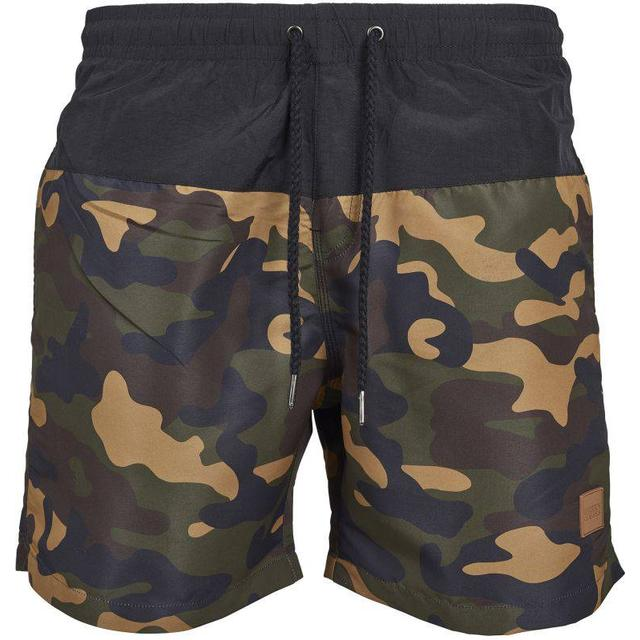 Urban Classics Block Swim Shorts - Black/Wood Camo