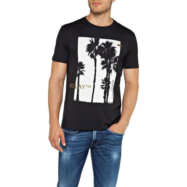 Replay Palm Tree Print T-shirt - Blackboard